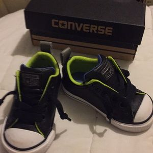 Converse toddler sneakers black leather upper used
